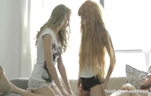 Delicious teens sharing one hard cock