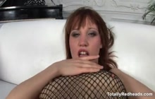 Cock riding scene with a lusty redhead