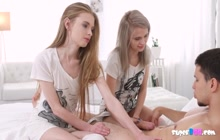 Threesome scene with two skinny teen sluts